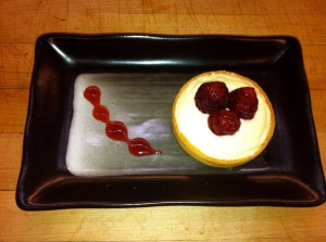 raspberry curd and marscapone tartlet